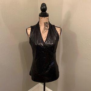 White House Black Market black sequin-front shirt